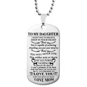 Jewelry - To Daughter Love Mom Dog Tag Pendant Necklace